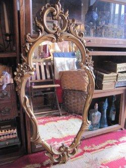 画像1: 特大◆非対称!70's アメリカアンティークミラー 鏡*欧州Antique50'sディスプレイ